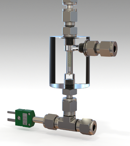 Dynamic flow-thru membrane separator with integrated thermocouple
